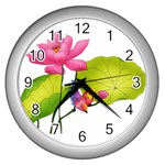 Lillies Wall Clock (Silver)
