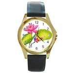 Lillies Round Gold Metal Watch