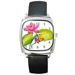 Lillies Square Metal Watch