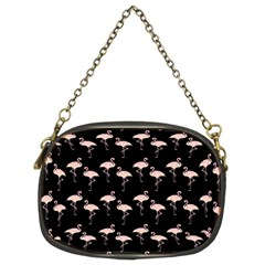 Pink Flamingo Pattern On Black  Chain Purse (two Sided)  by CrypticFragmentsColors