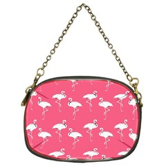 Flamingo White On Pink Pattern Chain Purse (one Side) by CrypticFragmentsColors