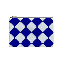 Harlequin Diamond Pattern Cobalt Blue White Cosmetic Bag (medium)