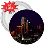 Dallas Skyline At Night 3  Button (10 pack)
