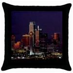Dallas Skyline At Night Black Throw Pillow Case