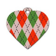 Argyle Pattern Abstract Design Dog Tag Heart (one Side) by LalyLauraFLM