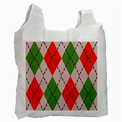 Argyle Pattern Abstract Design Recycle Bag (one Side) by LalyLauraFLM
