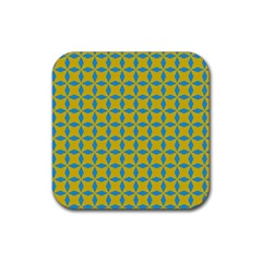 Blue Diamonds Pattern Rubber Square Coaster (4 Pack) by LalyLauraFLM