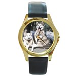Huskies Round Gold Metal Watch