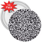 Elegant Glittery Floral 3  Button (10 pack)