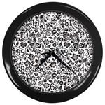 Elegant Glittery Floral Wall Clock (Black)