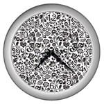 Elegant Glittery Floral Wall Clock (Silver)