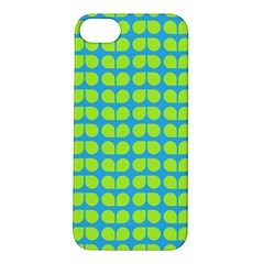 Blue Lime Leaf Pattern Apple Iphone 5s Hardshell Case by creativemom