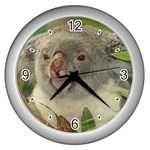 Koala Bear Wall Clock (Silver)