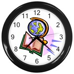 Globe and Book Wall Clock (Black)