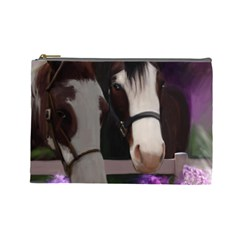 Two Horses Cosmetic Bag (large) by JulianneOsoske