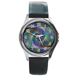 Psychedelic Spiral Round Leather Watch (Silver Rim)
