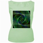 Psychedelic Spiral Women s Tank Top (Green)