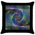 Psychedelic Spiral Black Throw Pillow Case