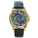 Psychedelic Spiral Round Leather Watch (Gold Rim)
