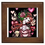 Skull Girl Framed Tile