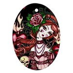 Skull Girl Ornament (Oval)