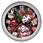 Skull Girl Wall Clock (Silver)
