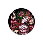 Skull Girl Rubber Coaster (Round)
