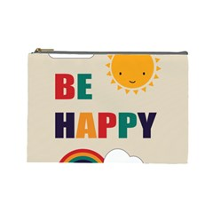 Be Happy Cosmetic Bag (large) by Kathrinlegg