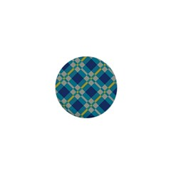 Squares And Stripes Pattern 1  Mini Button by LalyLauraFLM