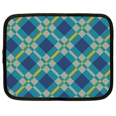 Squares And Stripes Pattern Netbook Case (xl) by LalyLauraFLM