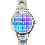Blue & Purple Gingham Plaid Round Italian Charm Watch