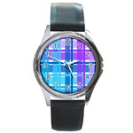 Blue & Purple Gingham Plaid Round Leather Watch (Silver Rim)