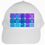 Blue & Purple Gingham Plaid White Baseball Cap