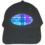 Blue & Purple Gingham Plaid Black Baseball Cap