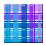 Blue & Purple Gingham Plaid Ceramic Tile