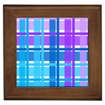 Blue & Purple Gingham Plaid Framed Ceramic Tile