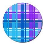 Blue & Purple Gingham Plaid 8  Mouse Pad (Round)