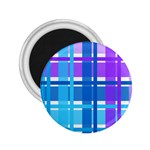 Blue & Purple Gingham Plaid 2.25  Button Magnet