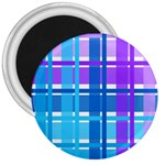 Blue & Purple Gingham Plaid 3  Button Magnet