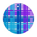 Blue & Purple Gingham Plaid Round Ornament