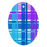 Blue & Purple Gingham Plaid Oval Ornament