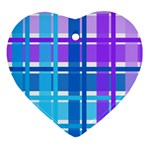 Blue & Purple Gingham Plaid Heart Ornament