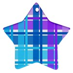 Blue & Purple Gingham Plaid Star Ornament