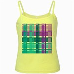 Blue & Purple Gingham Plaid Yellow Spaghetti Tank
