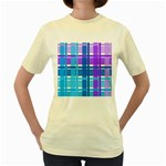 Blue & Purple Gingham Plaid Women s T-shirt (Yellow)