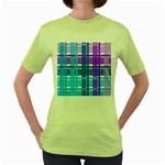 Blue & Purple Gingham Plaid Women s T-shirt (Green)