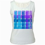 Blue & Purple Gingham Plaid Women s Tank Top (White)