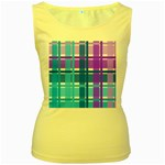Blue & Purple Gingham Plaid Women s Tank Top (Yellow)