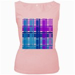 Blue & Purple Gingham Plaid Women s Tank Top (Pink)