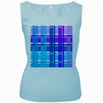 Blue & Purple Gingham Plaid Women s Tank Top (Baby Blue)